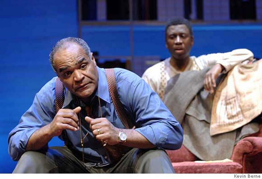 (l to r) Two Broadway actors�David Fonteno and Teagle F. Bougere�star in Blue Door, a breathtaking new play directed by Delroy Lindo at Berkeley Rep.  Photographer:  Kevin Berne  Ran on: 04-13-2007  David Fonteno (left), plays math professor Lewis, with Teagle F. Bougere in the impressive &quo;Blue Door.&quo; Photo: Kevin Berne