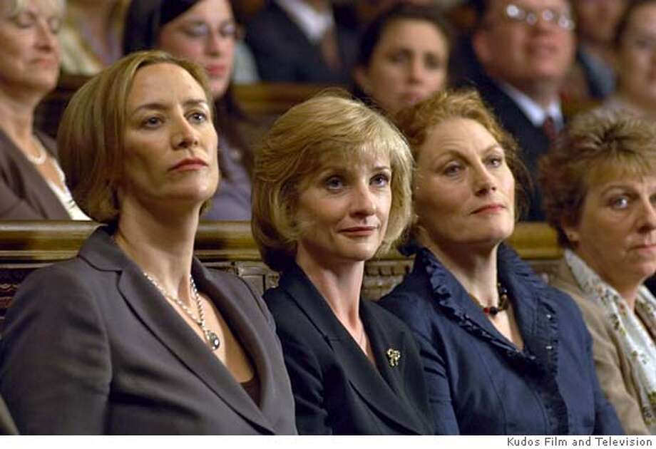 As the new Prime Minister, Ros Pritchard must rely on the counsel and support of her advisors in the face of unfamiliar political territory. Shown (from left to right): Janet Mcteer (Marple: The Murder at the Vicarage, Portrait of a Marriage) as Catherine Walker; Jane Horrocks (Absolutely Fabulous, Little Voice) as Ros Pritchard; Geraldine James (The Jewel in the Crown, Moll Flanders) as Hilary Rees-Benson in MASTERPIECE THEATRE�s �The Amazing Mrs. Pritchard,� airing Sundays, October 21- November 18, 2007 at 9pm on PBS. Credit: �Kudos Film and Television for MASTERPIECE THEATRE Photo: Credit: �Kudos Film And Televisi