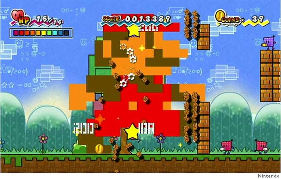 Mario powered up in a giant blocky form (a homage to the original Super Mario Bros. sprite) in Super Paper Mario for Nintendo Wii. Photo: Ho