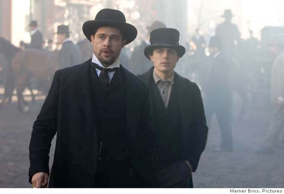 BRAD PITT as Jesse James and CASEY AFFLECK as Robert Ford in Warner Bros. Pictures� and Virtual Studios� drama �The Assassination of Jesse James by the Coward Robert Ford,� distributed by Warner Bros. Pictures. PHOTOGRAPHS TO BE USED SOLELY FOR ADVERTISING, PROMOTION, PUBLICITY OR REVIEWS OF THIS SPECIFIC MOTION PICTURE AND TO REMAIN THE PROPERTY OF THE STUDIO. NOT FOR SALE OR REDISTRIBUTION.