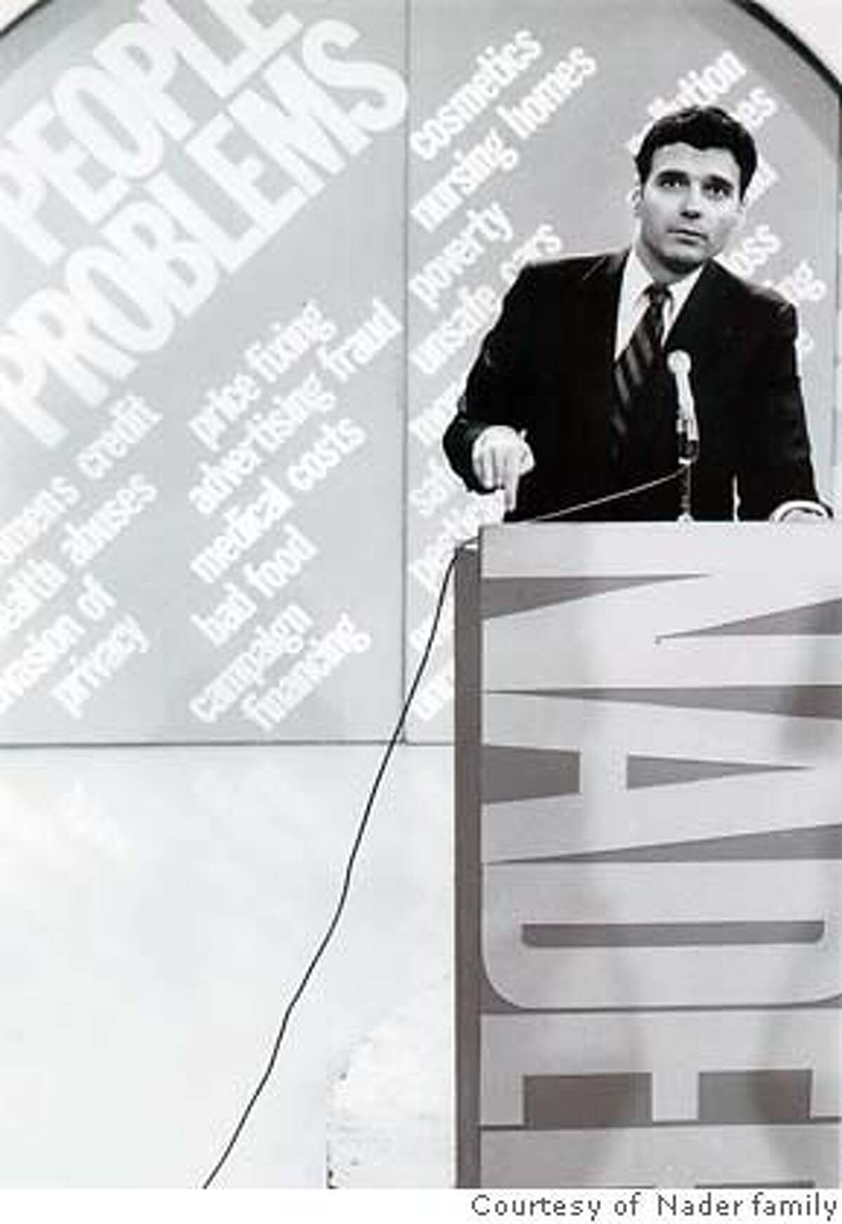 Young Ralph Nader at a podium in, IFC First Take release film,