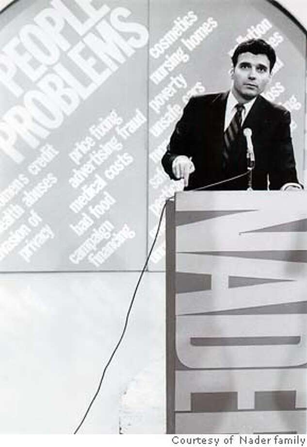 "Young Ralph Nader at a podium in, IFC First Take release film, ""AN UNREASONABLE MAN,"" directed by Henriette Mantel & Steve Skrovan Photo courtesy of the Nader family. unreasonable09 Photo: Handout"
