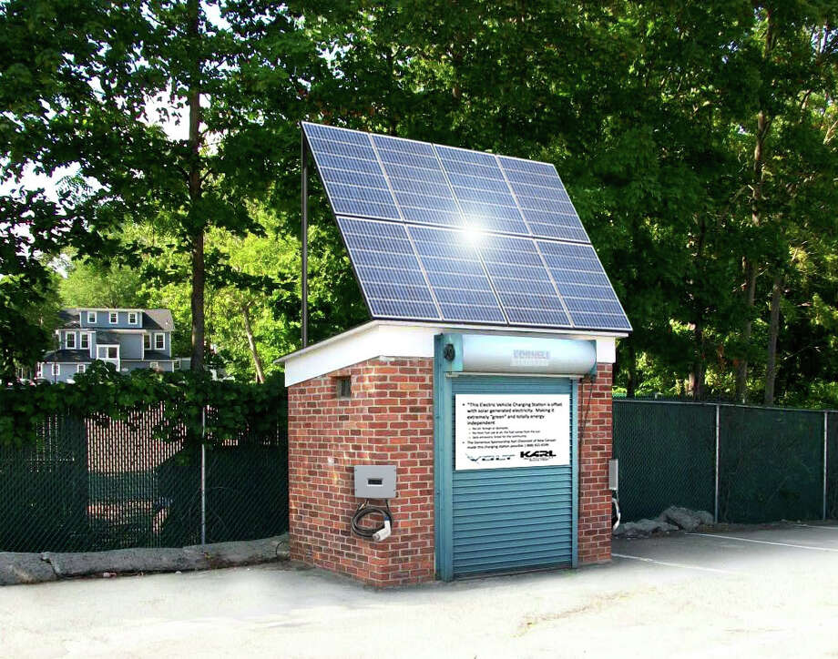 The Westport-based firm Elektron Solar has proposed building a solar-powered electric vehicle charging station in the Baldwin Parking Lot in downtown Westport. This rendering shows the facility's possible design. Photo: Contributed Photo / Westport News