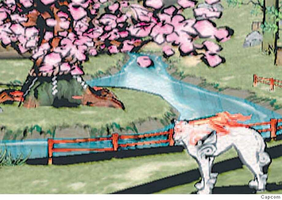 In Okami, you play the sun god Amaterasu in the form of a revered wolf that must defeat a eight-headed demon. Image courtesy of Capcom