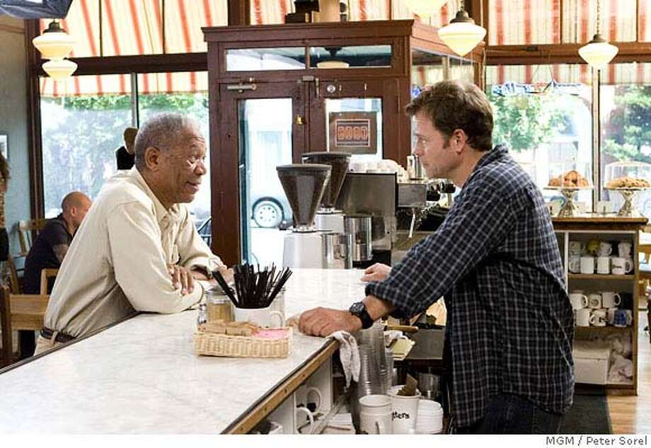 "MGM provided this photo of (left to right) Morgan Freeman and Greg Kinnear in ""Feast of Love."" (AP Photo/MGM/Peter Sorel) Photo: Peter Sorel"