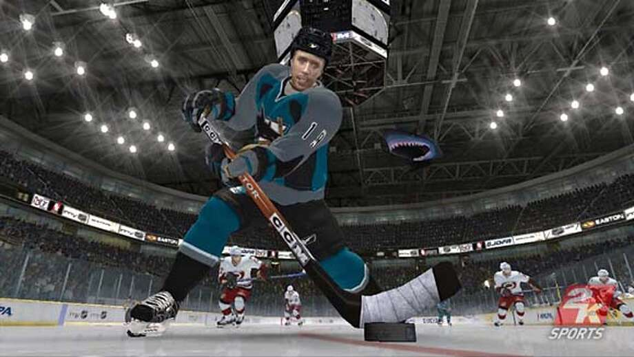 NHL 2K7 - Close-up of Joe Thornton of the San Jose Sharks.  Ran on: 10-03-2006  NHL 2K7, showing Joe Thornton of the San Jose Sharks, is a great-looking game with old-fashioned controls. Photo: Handout