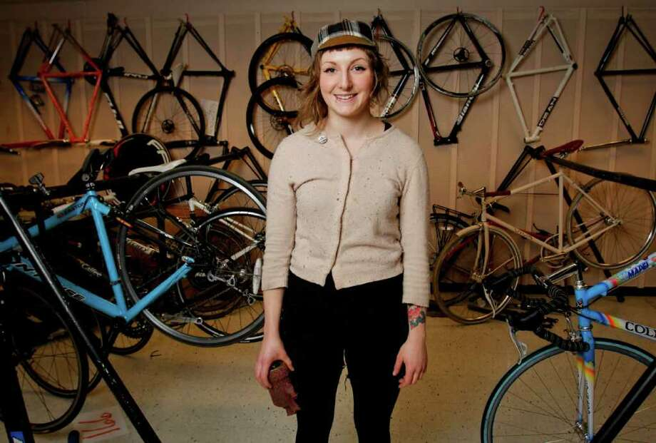 Amy Penney at the 17th Annual Seattle Bike Swap at the Seattle Center Exhibition Center on Sunday, Feb. 12, 2012. Photo: LINDSEY WASSON / SEATTLEPI.COM
