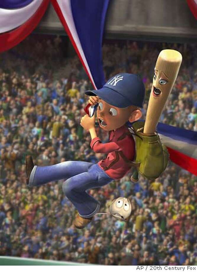 "In this photo provided by 20th Century Fox, Yankee Irving (voiced by Jake T. Austin), baseball bat Darlin (voiced by Whoopi Goldberg) and baseball Screwie (voiced by Rob Reiner) swing into action at the ballpark in ""Everyone's Hero."" (AP Photo/20th Century Fox) Photo: 20th Century Fox"