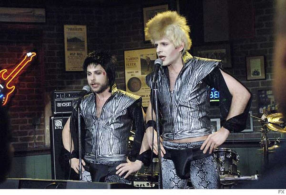 IT'S ALWAYS SUNNY IN PHILADELPHIA: L-R: Charlie day as Charlie and Glen Howerton as Dennis on IT'S ALWAYS SUNNY IN PHILADELPHIA airing Thursday, September 20'th, 10 pm e/p on FX. CR: Ray Mickshaw / FX Ran on: 09-12-2007 Charlie Day and Glenn Howerton try rocking out in an episode of Its Always Sunny in Philadelphia.