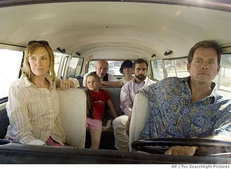 "This promotional photo provided by Fox Searchlight Pictures shows, actors, from left to right; Toni Collette, Abigail Breslin, Alan Arkin, Paul Dano, Steve Carell, and Greg Kinnear in a scene from ""Little Miss Sunshine."" Collette was nominated for best actress in a movie comedy or musical for the road-trip romp ""Little Miss Sunshine"" and TV supporting actress for ""Tsunami: The Aftermath,"" as the Golden Globe award nominations were announced Thursday morning, Dec. 14, 2006. (AP Photo/Fox Searchlight Pictures,HO) UNDATED PHOTO RELEASED BY FOX SEARCHLIGHT PICTURES. Photo: Fox Searchlight Pictures"