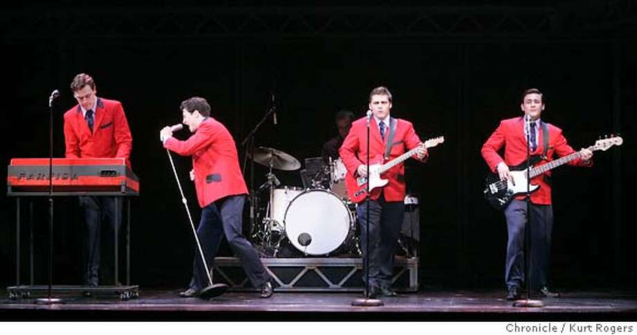 Erich Bergen as Bob Gaudio,Christopher Kale Jones as Frankie Valli Daven May ass Tommy DeVito and Michael Ingersoll as Nick Massi.  The preview Performance of Jersey Boys at the Curran Theatre in San Francisco.  Thursday, DECEMBER 7, 2006 KURT ROGERS/THE CHRONICLE SAN FRANCISCO THE CHRONICLE  SFC JERSEY11_0076_kr.jpg  Ran on: 12-12-2006  Doo-wopping to stardom as the Four Seasons are (from left) Erich Bergen as Bob Gaudio, Christopher Kale Jones as Frankie Valli, Deven May as Tommy DeVito and Michael Ingersoll as Nick Massi. Photo: KURT ROGERS/THE CHRONICLE