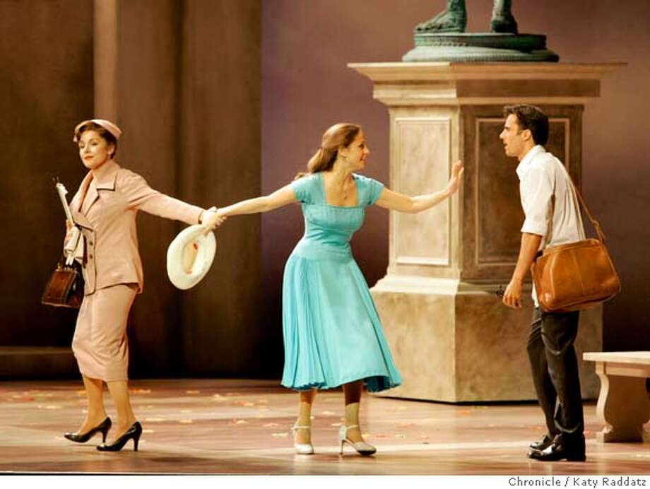"PIAZZA07_038_RAD.jpg  SHOWN: L: Margaret (the mother) played by Christine Andreas; C: Clara (the daughter) played by Elena Shaddow; R: Fabrizio (Clara's love interest) played by David Burnham. Mom is pulling daughter away from Fabrizio. ""The Light In the Piazza"" at the Orpheum Theater in San Francisco. These photos shot in San Francisco, CA. on Wednesday August 2, 2006.  Photo taken on 7/26/06, in San Francisco, CA.  (Katy Raddatz/The S.F.Chronicle)  **Christine Andreas, Elena Shaddow, David Burnham, Orpheum, Fabrizio Mandatory credit for photographer and the San Francisco Chronicle/ -Mags out Photo: Katy Raddatz"