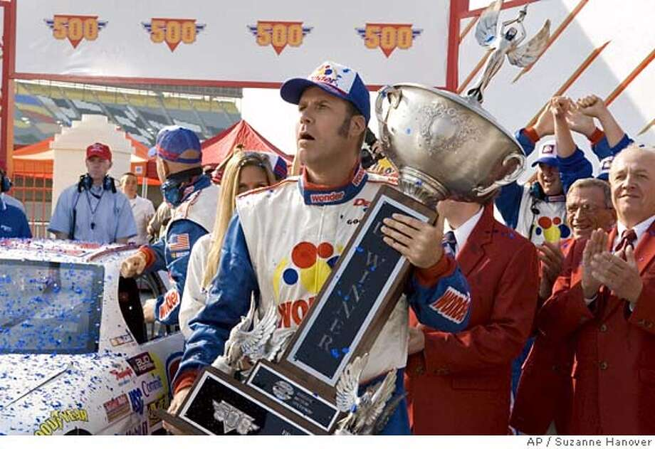 In this photo provided by Columbia Pictures, NASCAR driver Ricky Bobby, played by Will Ferrell, holds a trophy in a scene from ''Talladega Nights: The Ballad of Ricky Bobby.'' (AP Photo/HO,Suzanne Hanover) Photo: SUZANNE HANOVER