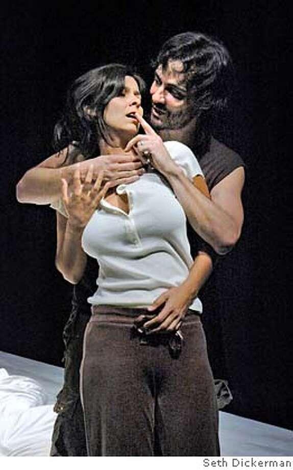 Dena Martinez and Johnny Moreno in Thick Description's production of Octavio Solis's GIBRALTAR.  Photo by Seth Dickerman Photo: Seth Dickerman