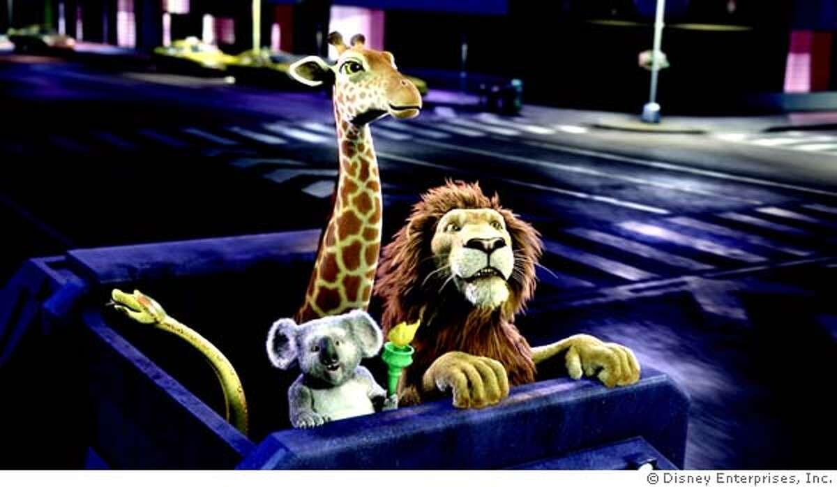 Left to right: Larry the Anaconda, Nigel the Koala, Bridget the Giraffe, Samson the Lion in The Wild. � Disney Enterprises, Inc. All rights reserved.