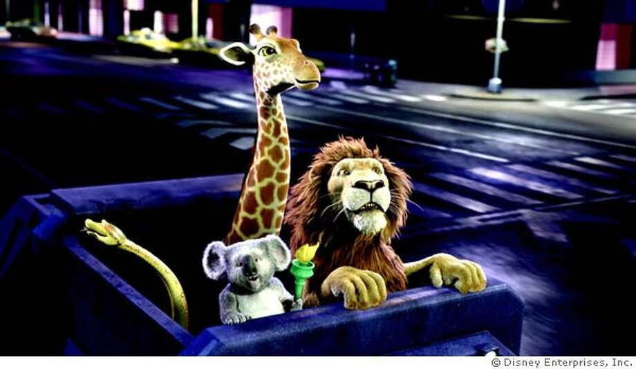 Left to right: Larry the Anaconda, Nigel the Koala, Bridget the Giraffe, Samson the Lion in The Wild. � Disney Enterprises, Inc. All rights reserved. Photo: Disney