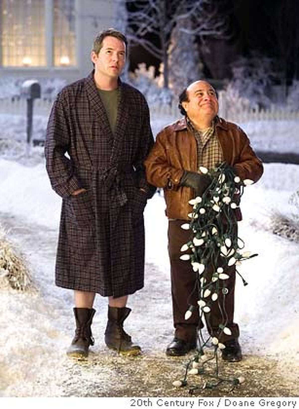 """�In this photo provided by 20th Century Fox, Steve Finch (Matthew Broderick) is unhappy with the way Buddy Hall (Danny DeVito) has festooned Buddys house with overpowering holiday lights in """"Deck the Halls."""" (AP Photo/20th Century Fox/ Doane Gregory)"""