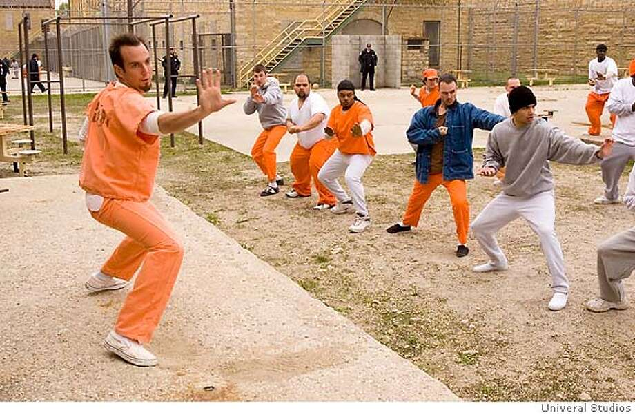 "�HANDOUT ART courtesy Univeral Studios. (Obnxious Nelson Biederman IV (Will Arnett) teaches his fellow inmates relaxing martial arts in the comedy, ""Let's Go to Prison."""