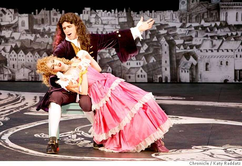 "COMEDY10_022_RAD.jpg  SHOWN: Mr. Worthy, played by Kaleo Griffith; Narcissa, played by Bhama Roget. Preview performance of California Shakespeare Theater's ""Restoration Comedy,"" a new play by Amy Freed, and directed by Sharon Ott, formerly of Seattle Rep. Photo taken on 7/5/06, in Orinda, CA.  (Katy Raddatz/The S.F.Chronicle  **Kaleo Griffith, Narcissa, Bhama Roget Mandatory credit for photographer and the San Francisco Chronicle/ -Mags out Photo: Katy Raddatz"