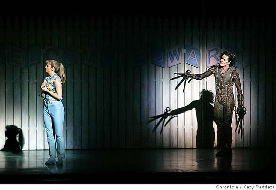 SCISSORHANDS16_092_RAD.jpg  SHOWN: Edward Scissorhands (R), played by Sam Archer, tries to make emotional contact with Kim Boggs, (L), played by Kerry Biggin. Edward Scissorhands at the Orpheum Theater in San Francisco. These pictures made on Sunday Nov. 12, 2006, in San Francisco, CA. (Katy Raddatz/SF Chronicle)  ** Mandatory credit for the photographer and the San Francisco Chronicle. ; mags out. Photo: Katy Raddatz