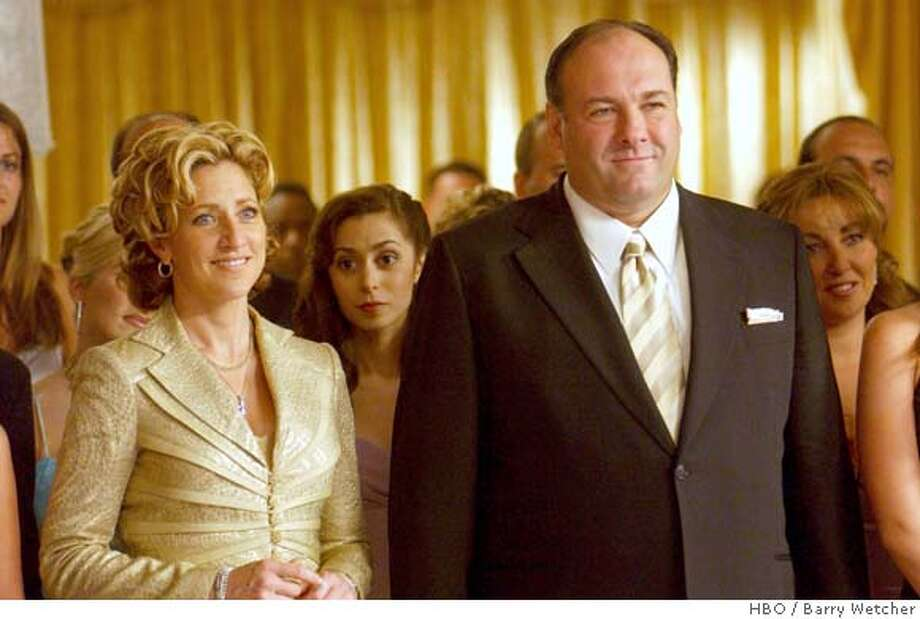 The Sopranos return March 12. THE SOPRANOS: Edie Falco, James Gandolfini. photo: Barry Wetcher MANDATORY CREDIT FOR PHOTOG AND SAN FRANCISCO CHRONICLE/ -MAGS OUT Photo: Handout