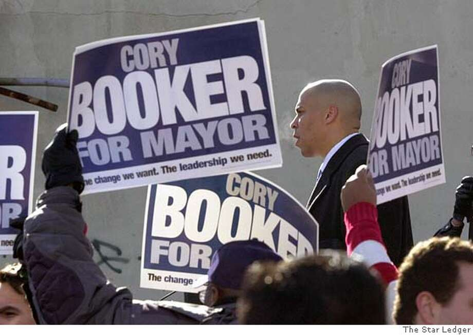 Cory Booker campaigning for mayor of Newark, N.J. in the movie Street Fight.  Credit: The Star Ledger, photograph used with permission. Photo: The Star Ledger, Photograph Used