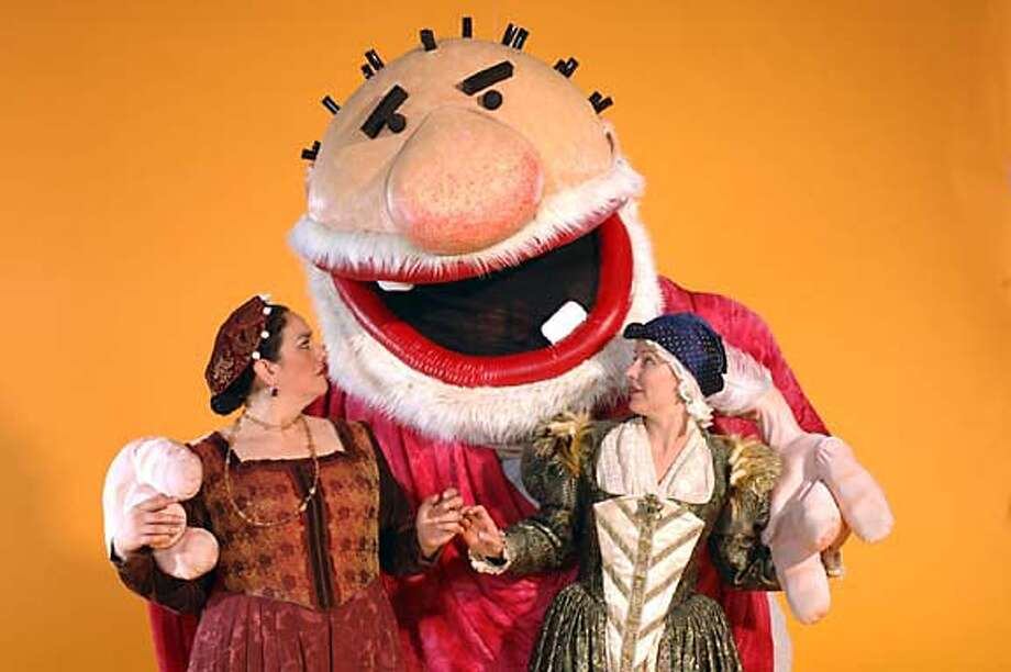 """The Merry Wives of Windsor""  Mistress Page (l, Catherine Castellanos), Mistress  Ford (r, Delia MacDougall) and Falstaff California Shakespeare Theater Photo credit: Kevin Berne  Puppets designed by Jon Ludwig Photo: Kevin Berne"