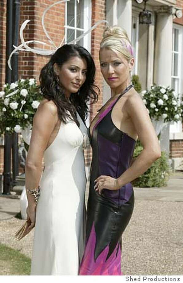 Footballers Wives 5 Amber (Laila Rouass) and Tanya (Zo� Lucker) in Footballers Wive$. Credit: Shed Productions Photo: Shed Productions