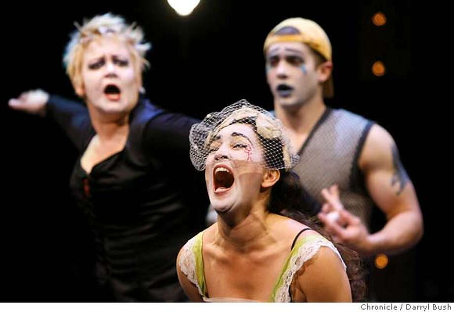 """nero20_0083_db.JPG  Sofia Ahmad plays Octavia, front, as Catherine Smitko plays Agrippina, back left, and Joe Mandragona plays Britannicus, back right, in """"Nero"""" at the Magic Theatre.  Event on 2/15/06 in San Francisco.  Darryl Bush / The Chronicle MANDATORY CREDIT FOR PHOTOG AND SF CHRONICLE/ -MAGS OUT Photo: Darryl Bush"""
