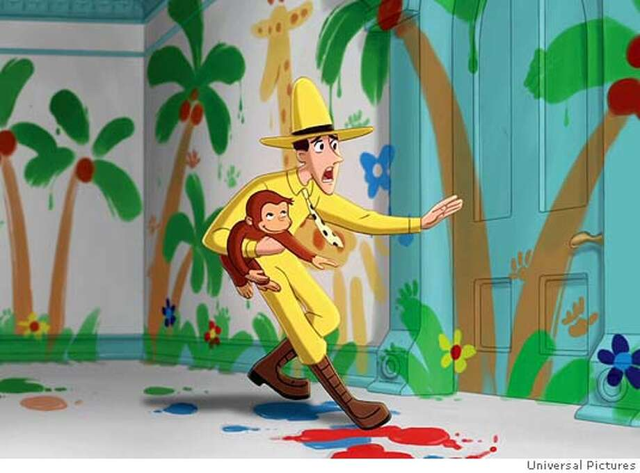 �In this photo provided by Universal Pictures, Ted, The Man with the Yellow Hat (voiced by WILL FERRELL), backs away with George after George's finger-painting escapades in 'Curious George.'