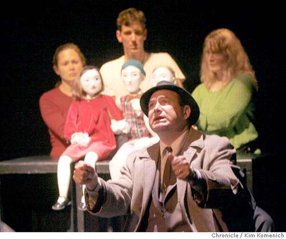 """The Magic Theater closes its season with """"The Long Christmas Ride Home"""" by Paula Vogel. Steve Irish, front, wearing hat, plays the male narrator and father character, In back, L to R, Jennifer Clare plays Claire, Nick Sholley plays Stephen, and Lisa Anne Porter plays Rebecca. NOTE The puppets represent each of the live characters as children. The performance is held at Fort Mason.  **program  Kim Komenich / The Chronicle MANDATORY CREDIT FOR PHOTOG AND SAN FRANCISCO CHRONICLE/ -MAGS OUT Photo: Kim Komenich"""