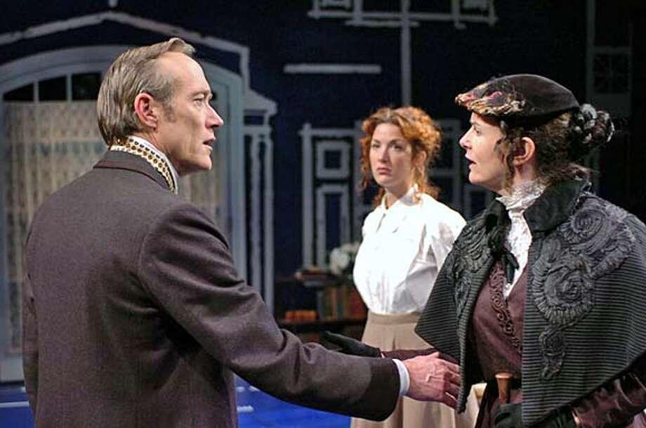 l-r, James Carpenter, Lauren Grace, and Anne Darragh star in The Master Builder. Photo: David Allen
