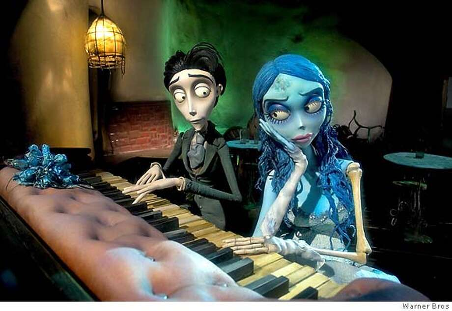 Victor Van Dort, left, voiced by Johnny Depp, and the Corpse Bride, voiced by Helena Bonham Carter,are shown in a scene from Warner Bros. Pictures stop-motion animated fantasy Tim Burtons Corpse Bride. (AP Photo/Warner Bros. Entertainment In.) Ran on: 09-23-2005  Victor (voiced by Johnny Depp) and the Corpse Bride (Helena Bonham Carter) in &quo;Tim Burton's Corpse Bride.&quo; MAGS OUT, PHOTOGRAPHS Photo: Warner Bros. Entertainment In