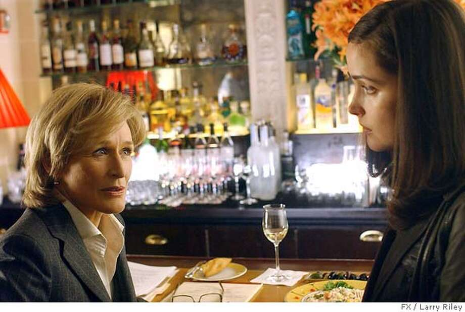 "This undated photo, provided by FX network, shows actresses Glenn Close, left, and Rose Byrne in a scene from the legal thriller ""Damages,"" premiering on FX Tuesday, July 24 at 10 p.m. EDT. (AP Photo/FX, Larry Riley) NO SALES. EDITORIAL USE ONLY. NORTH AMERICAN USE ONLY Photo: Larry Riley"