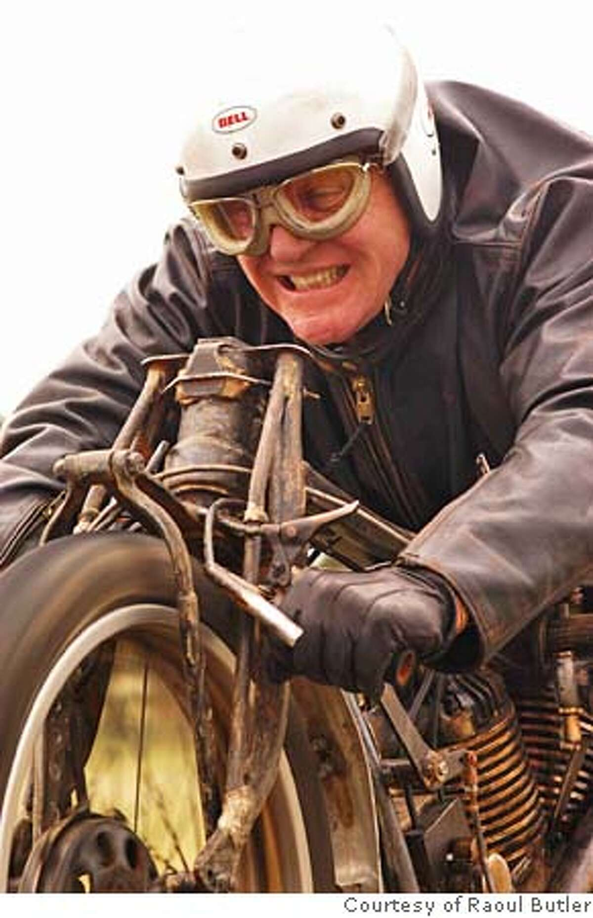 Burt Munro (Anthony Hopkins) on his modified Indian motorcycle in The World's Fastest Indian , a Magnolia Pictures release. Photo courtesy Raoul Butler.