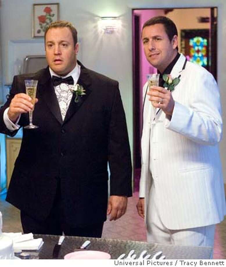 "� Universal Pictures provided this photo of (left to right) Kevin James and Adam Sandler in ""I Now Pronounce You Chuck & Larry."" (AP Photo/Universal Pictures/Tracy Bennett) NO SALES Photo: Tracy Bennett"