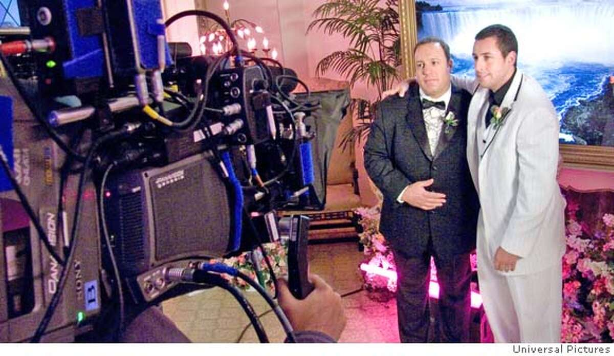 � KEVIN JAMES and ADAM SANDLER on the set of a comedy in which they play two straight guys who stumble down the aisle with the best of intentions ?I Now Pronounce You Chuck & Larry.? Universal Pictures