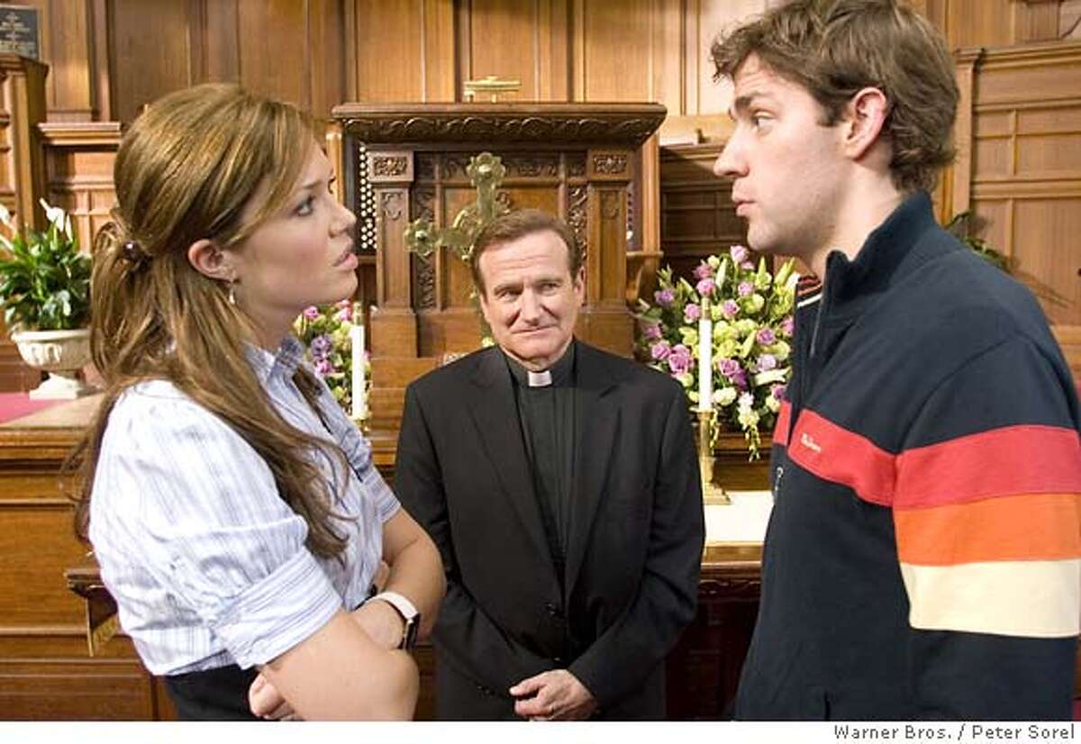 """� This photo provided by Warner Bros. shows (left to right) Mandy Moore, Robin Williams and John Krasinski in """"License to Wed. (AP Photo/Warner Bros./Peter Sorel) NO SALES. NO MAGS."""
