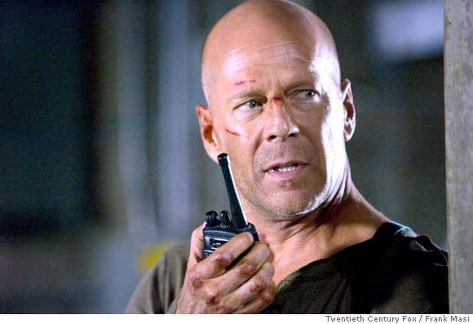 Bruce Willis as John McClane prepares to spring into action in LIVE FREE OR DIE HARD. Photo credit: Twentieth Century Fox / Frank Masi PHOTOGRAPHS TO BE USED SOLELY FOR ADVERTISING, PROMOTION, PUBLICITY OR REVIEWS OF THIS SPECIFIC MOTION PICTURE AND TO REMAIN THE PROPERTY OF THE STUDIO. NOT FOR SALE OR REDISTRIBUTION  Ran on: 05-06-2007  Rupert Grint (left), Evanna Lynch, Matthew Lewis, Emma Watson, Daniel Radcliffe and Bonnie Wright in &quo;Harry Potter and the Order of the Phoenix.&quo;  Ran on: 06-24-2007  Bruce Willis stars in &quo;Live Free or Die Hard,&quo; the latest in the &quo;Die Hard&quo; action franchise, which opens Wednesday.  Ran on: 06-22-2007  A shrink in &quo;The Sixth Sense.&quo; Photo: Frank Masi