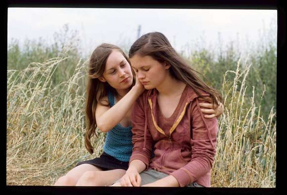 Adelaide Leroux (l.) as Barbe and  Inge Decaesteker as France - 3.1 MB  Flanders  Ran on: 06-22-2007  Ad�la�de Leroux (left) is Barbe, and Inge Decaesteker plays France in Bruno Dumont's new film, &quo;Flanders.&quo; Photo: Ho