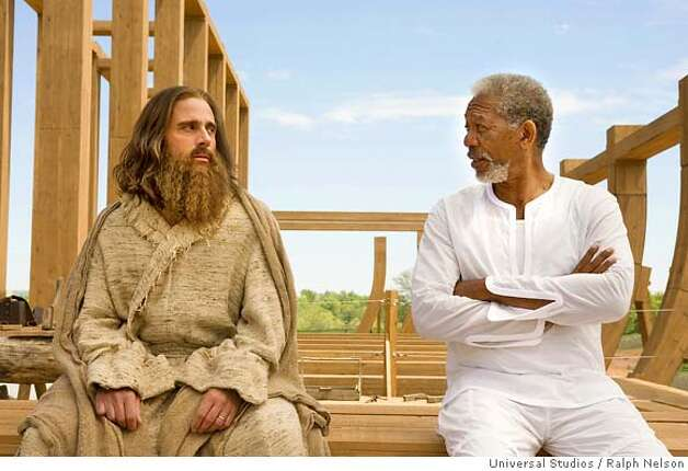 STEVE CARELL AND MORGAN FREEDMAN in Evan Almighty  Universal Studios / Ralph Nelson Photo: Ralph Nelson