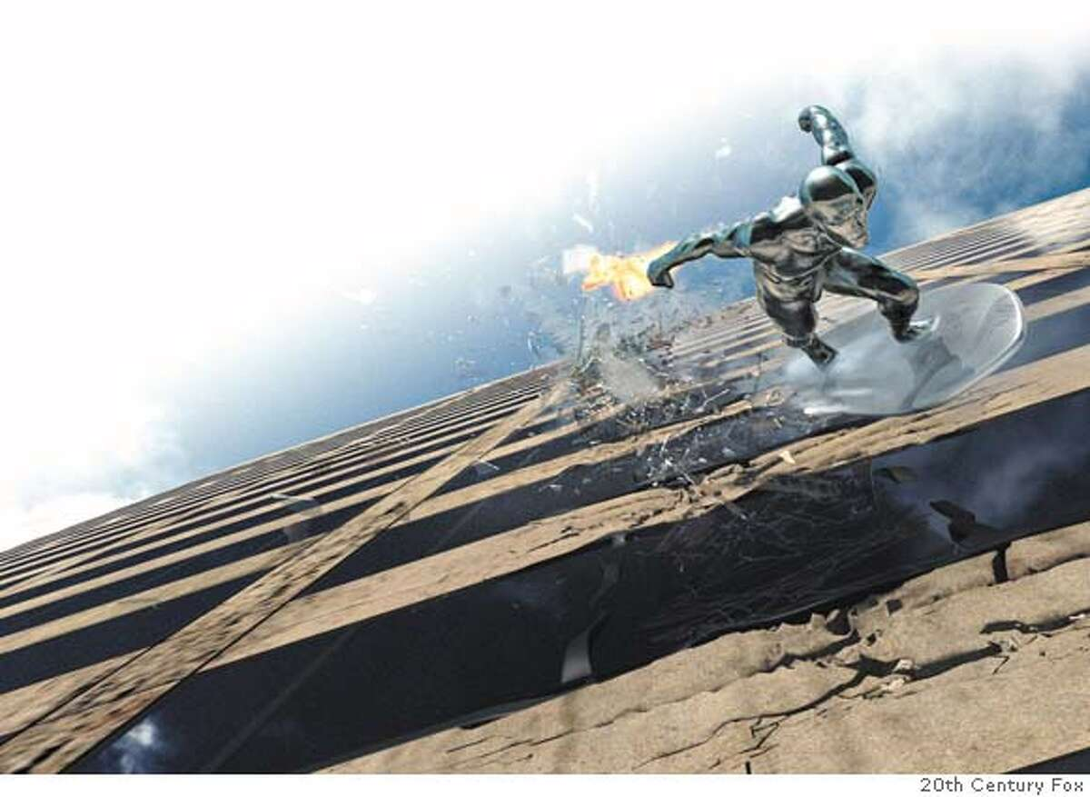 In a display of his seemingly unlimited powers, the Silver Surfer races down the side of a building. (20th Century Fox)