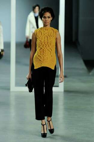 NEW YORK, NY - FEBRUARY 12:  A model walks the runway at the Derek Lam Fall 2012 fashion show during Mercedes-Benz Fashion Week  at St. John's Center Studios on February 12, 2012 in New York City.  (Photo by Fernanda Calfat/Getty Images for Mercedes-Benz Fashion Week) Photo: Fernanda Calfat, Stringer / 2012 Getty Images