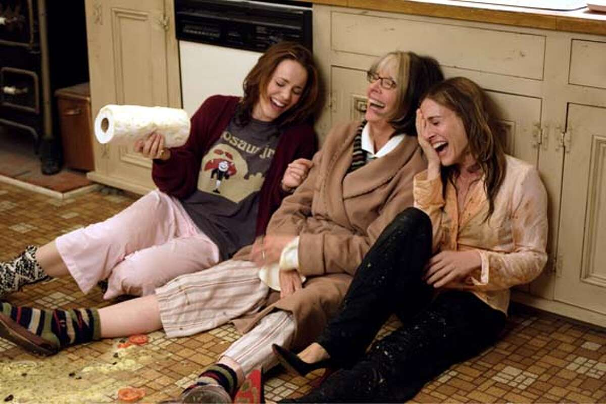 A kitchen disaster leads to laughter for Amy (Rachel McAdams, left), Sybil (Diane Keaton) and Meredith (Sarah Jessica Parker), in THE FAMILY STONE.