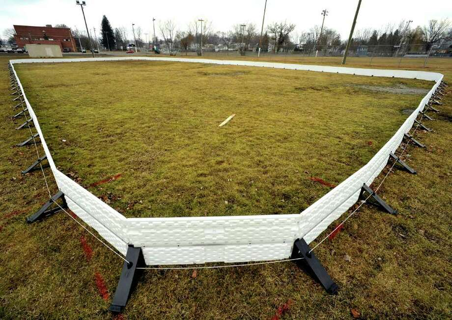 The portable ice skating rink in Rogers Park is not in use this year. The weather in Danbury has been too warm. Photographed Wednesday, Feb. 16, 2012. Photo: Michael Duffy / The News-Times