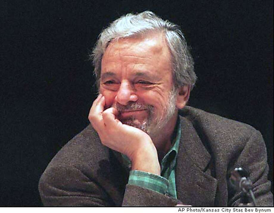 SONDHEIM/C/12MAY00/PK/AP-Composer and lyricist Stephen Sondheim takes part in a panel discussion of American theater Friday, April 17, 1998, at Independence Community College in Independence, Kan. Stephen Sondheim was chosen for the Distinguished Achievement in the American Theatre Award, which the William Inge Theatre Festival bestows on a living American playwright each year. Sondheim was to become the 17th playwright honored Saturday night.(AP Photo/Kansas City Star, Bev Bynum)  BY ASSOCIATED PRESS CAT Photo: Bev Bynum