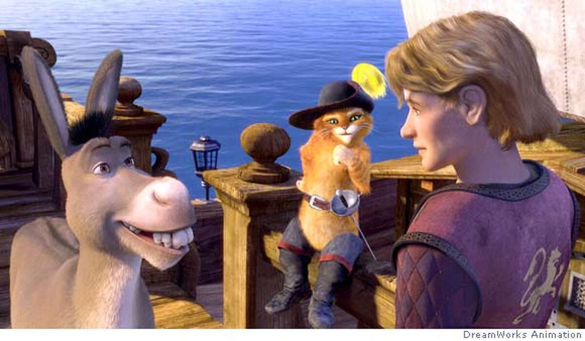 Donkey (EDDIE MURPHY) and Puss In Boots (ANTONIO BANDERAS) set sail with Artie (JUSTIN TIMBERLAKE) in DreamWorks� SHREK THE THIRD, to be released by Paramount Pictures in May 2007. DreamWorks Animation S.K.G. Presents a PDI/DreamWorks Production, �Shrek the Third.�