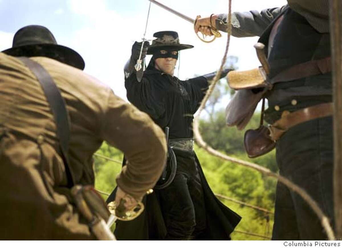 "Movie still of Antonion Banderas in ""The Legend of Zorro."" Ran on: 10-23-2005 Antonio Banderas doing what Zorro does best in The Legend of Zorro."