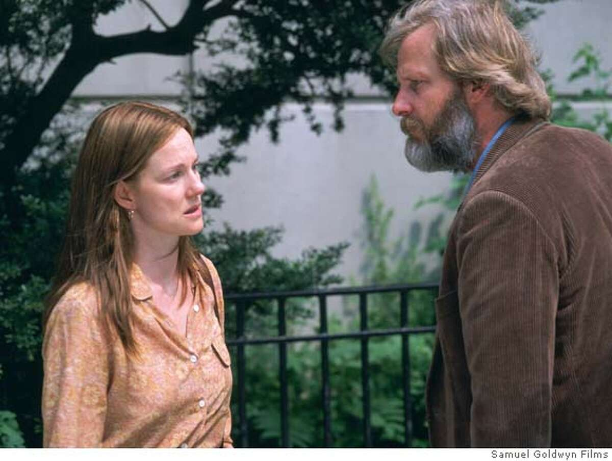 """In this photo provided by Samuel Goldwyn Films, Joan ( Laura Linney) and Bernard (Jeff Daniels) are a couple going through a divorce and painful truths about the marriage in """"The Squid and the Whale."""" (AP Photo/Samuel Goldwyn Films) Ran on: 10-17-2005 Laura Linney and Jeff Daniels in The Squid and the Whale."""