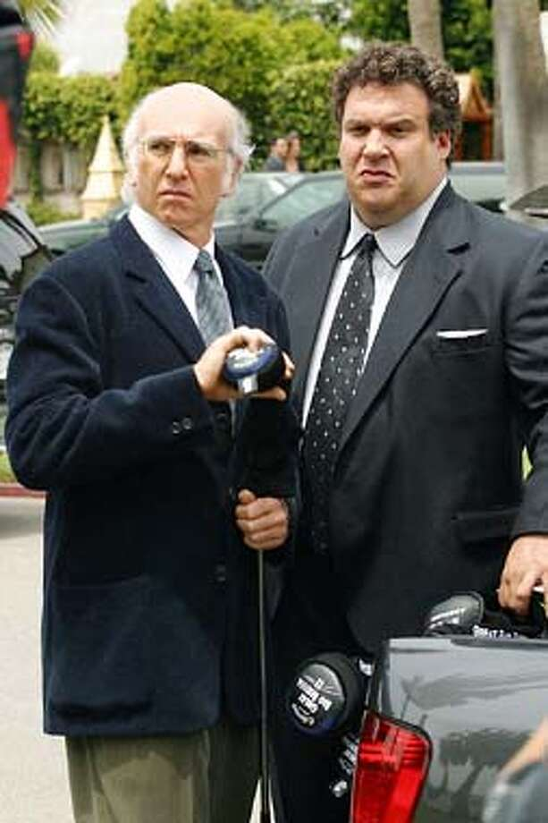 "Larry David and Jeff Garlin in HBO's ""Curb Your Entusiamsm."" Larry David (left) and Jeff Garlin star in HBO's &quo;Curb Your Enthusiasm,&quo; one of the best comedy series on TV."